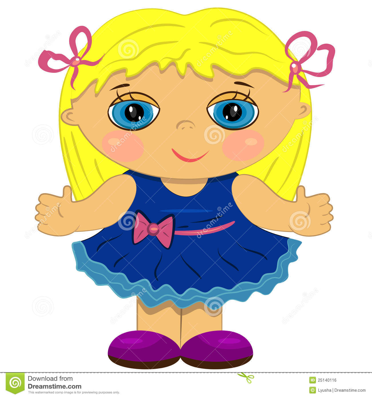 Girl Toys Clip Art : Clapping baby girl cute doll illustration stock vector