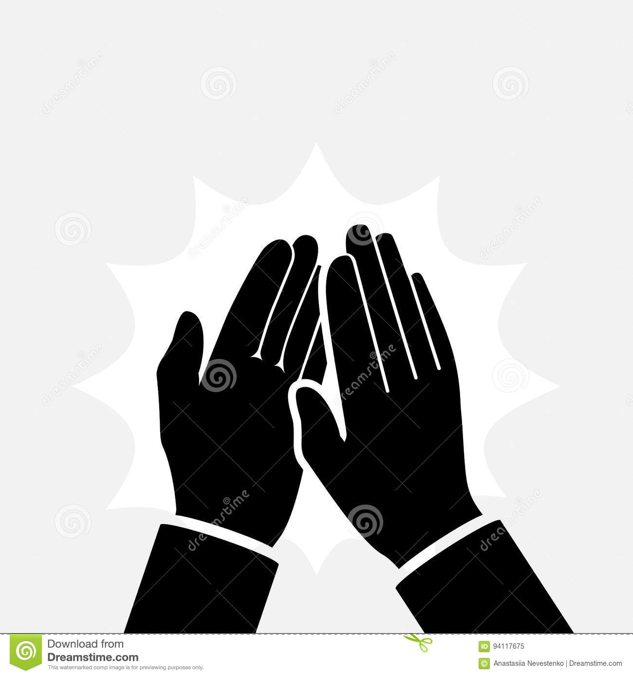 Clapping Hands Icon Silhouette Stock Vector Illustration Of Deal