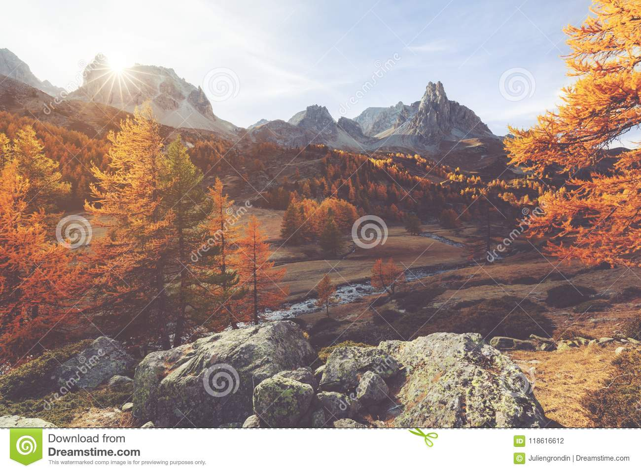 Clarée valley during Autumn in France
