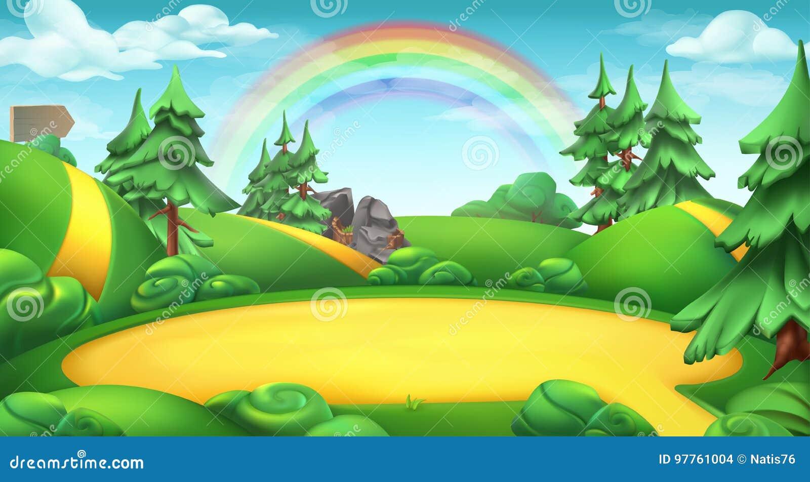 Clareira em um fundo do vetor da paisagem da natureza da floresta