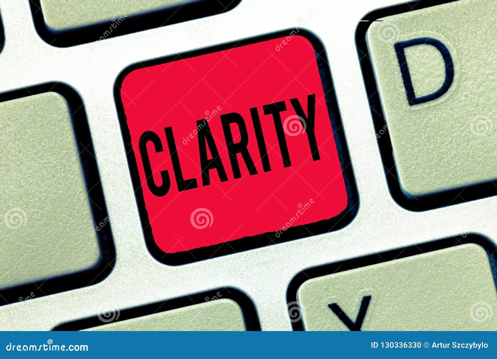 Claridad de la escritura del texto de la escritura Significado del concepto que es precisión clara comprensible inteligible coher
