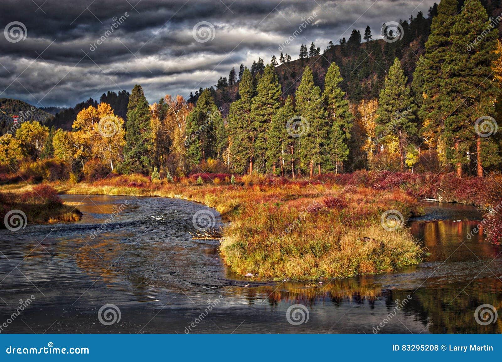 Clark Fork River Near Bearmouth, Montana Stock Photo