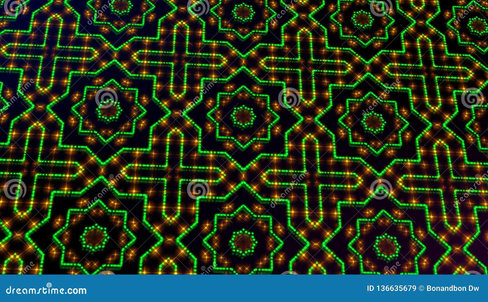 Claro animado shinning pontos verdes e amarelos e formas das estrelas