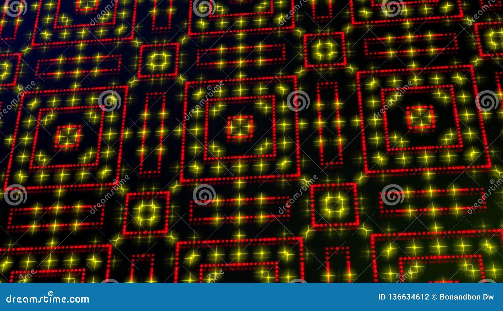Claro animado shinning pontos vermelhos e amarelos e formas das estrelas