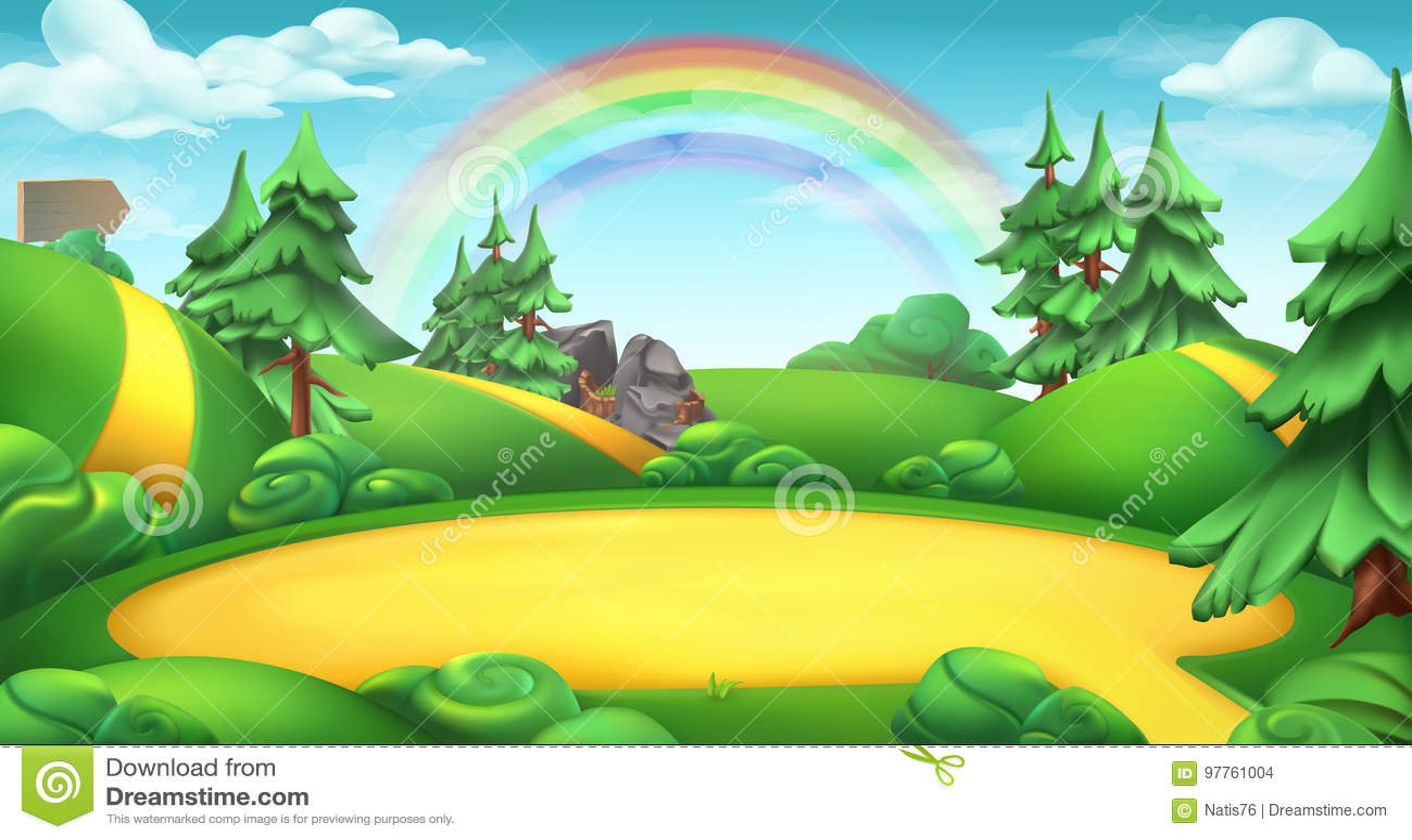 Claro en un fondo del vector del paisaje de la naturaleza del bosque