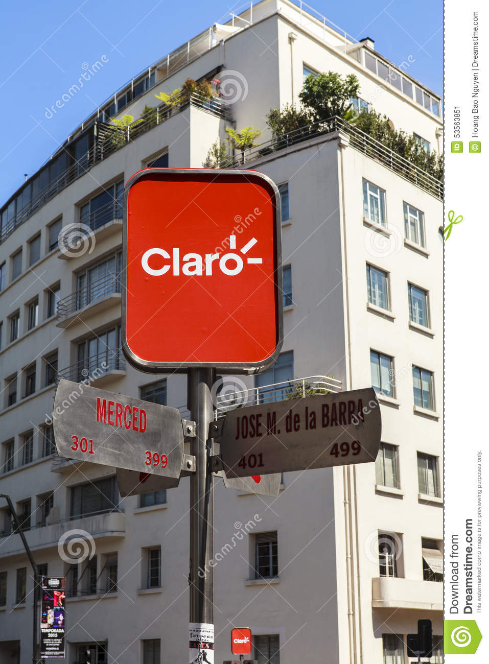 CLARO SIGN ON THE STREET OF SANTIAGO, CHILE Editorial Photo