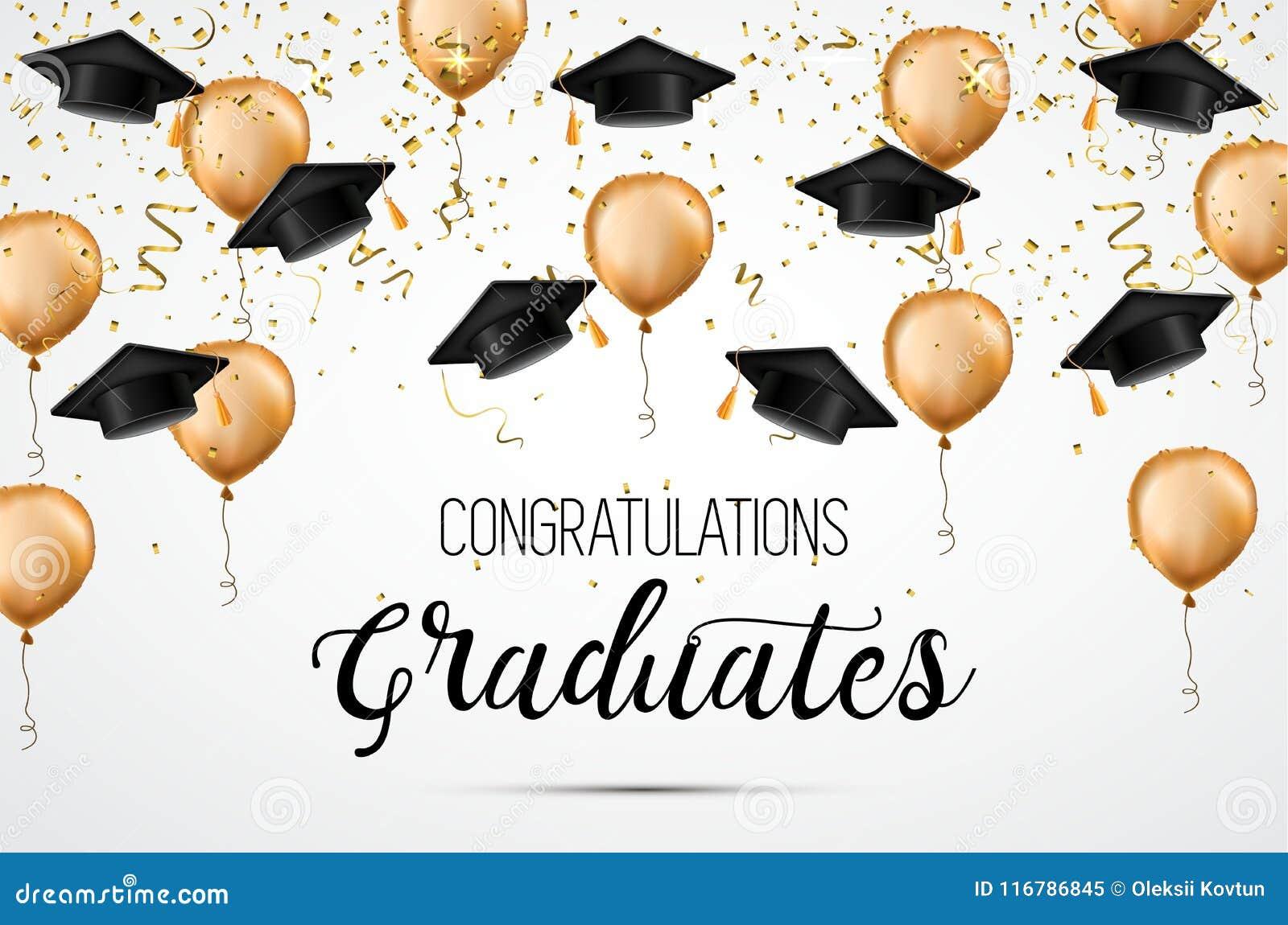 Clase de la graduación de 2018 Graduados de la enhorabuena Sombreros, confeti y globos académicos celebración