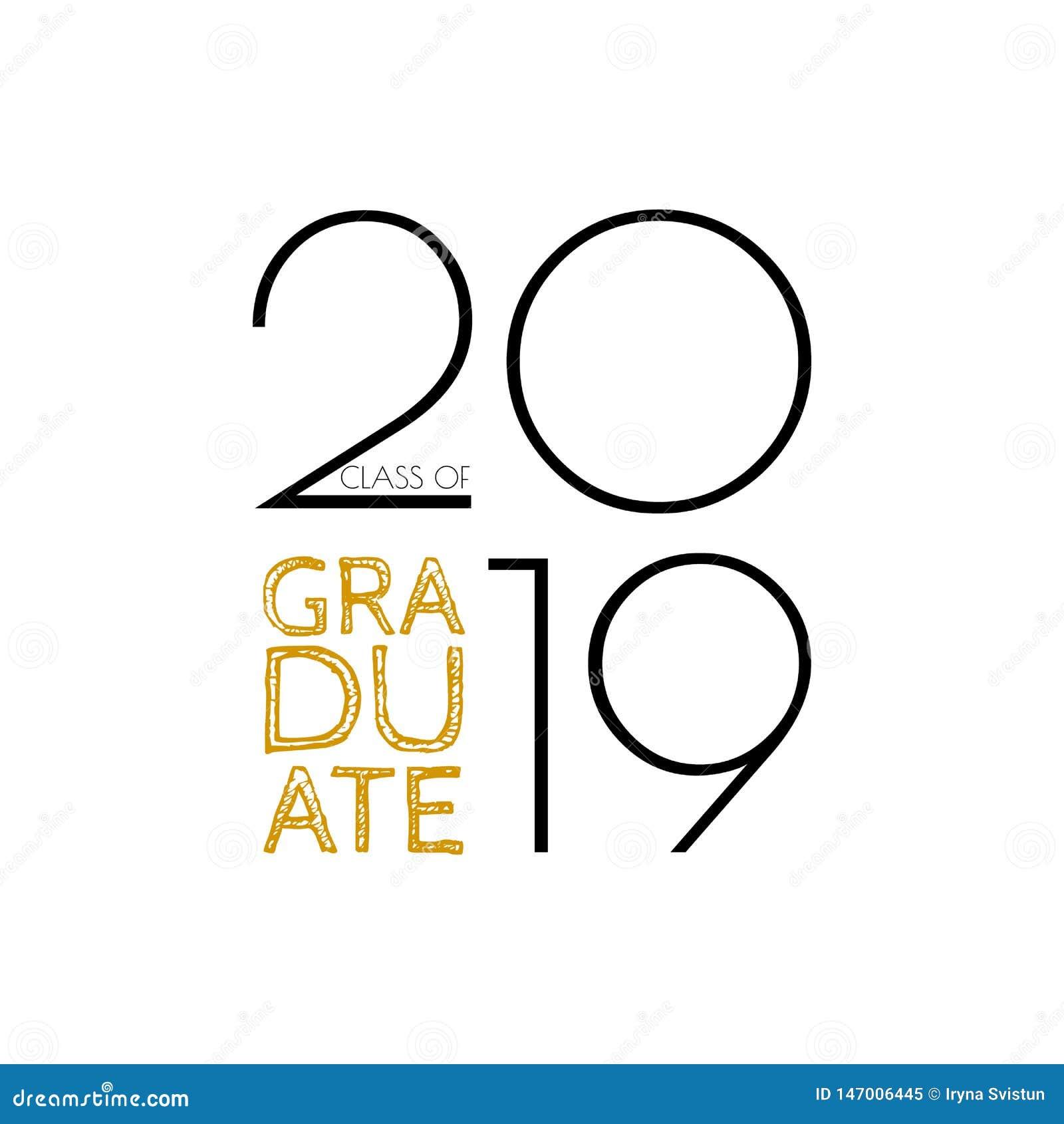 Clase Graduada De 2019 Texto Del Vector Para El Diseño De La