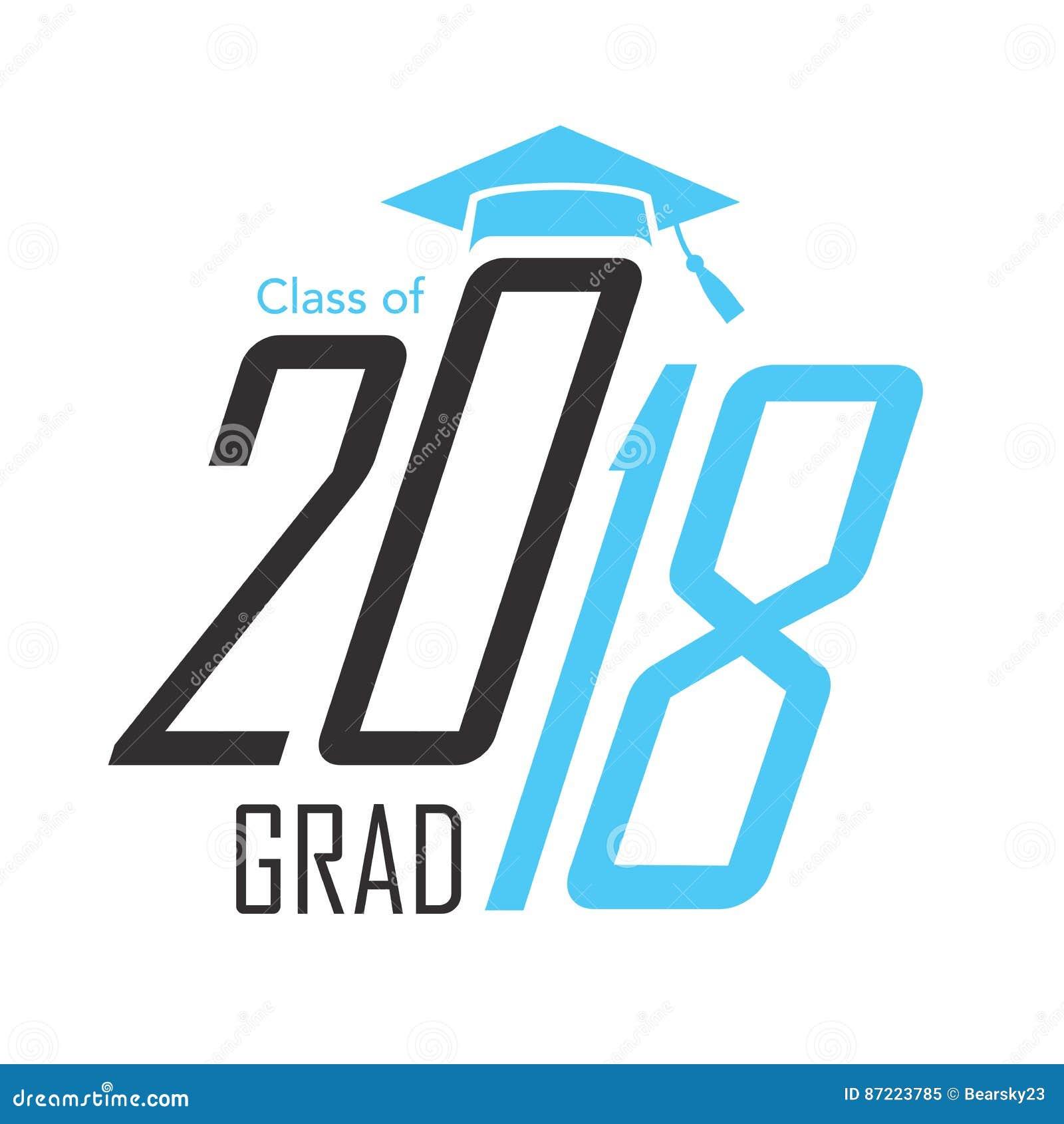 Clase negra y azul del gráfico 2018 de vector del graduado con la graduación