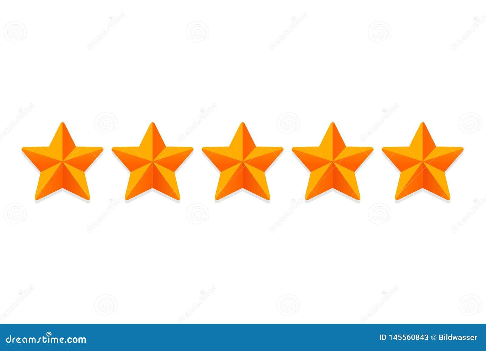 Clasificación de clasificación de las estrellas 5 Rate Review Ranking Vector de las muestras de la estrella de la web