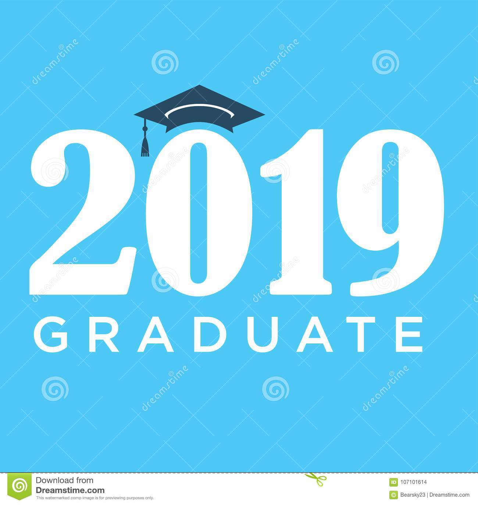 class of 2019 congratulations graduate typography stock vector