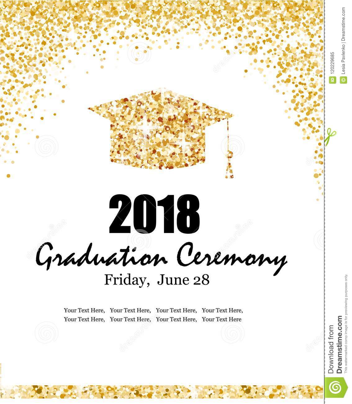 Class Of 2018 Graduation Ceremony Banner With Graduate Hat And Gold Confetti Background For Invitation Poster Postcard Vector Template