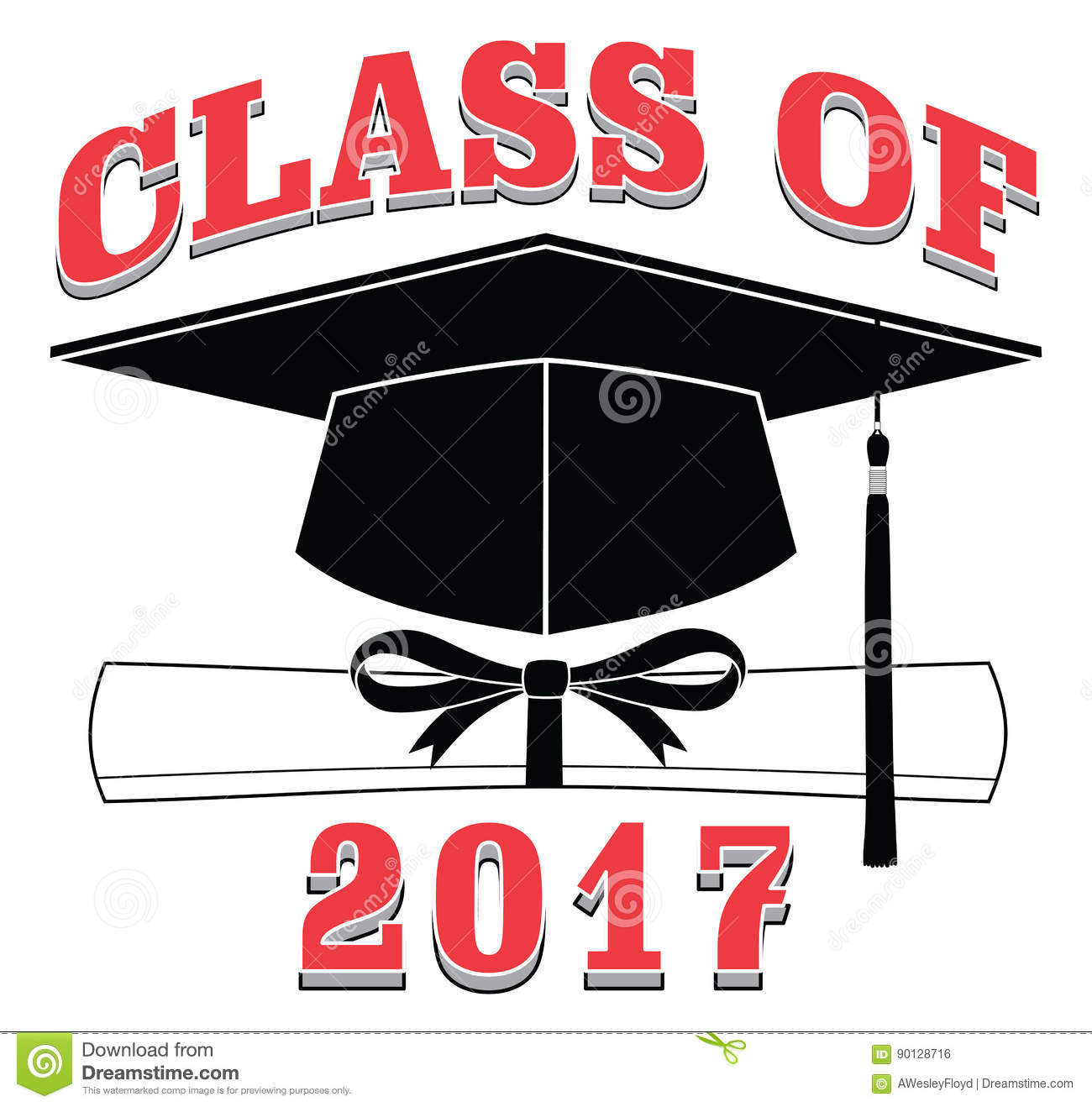 class of 2017 graduation stock vector image 90128716