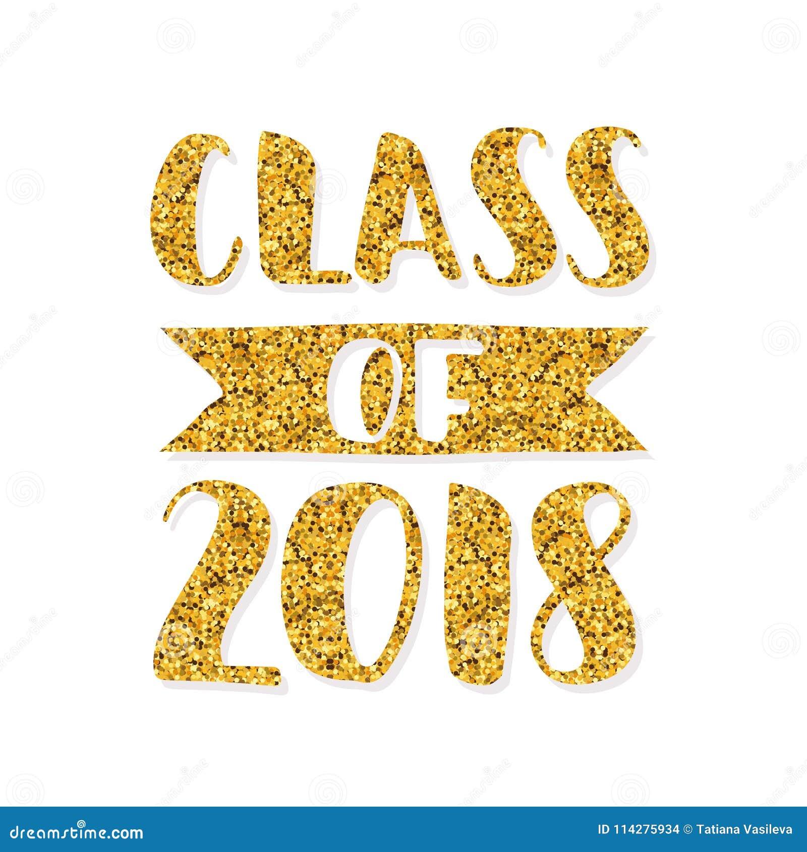 class of 2018 hand drawn brush lettering graduation logo template