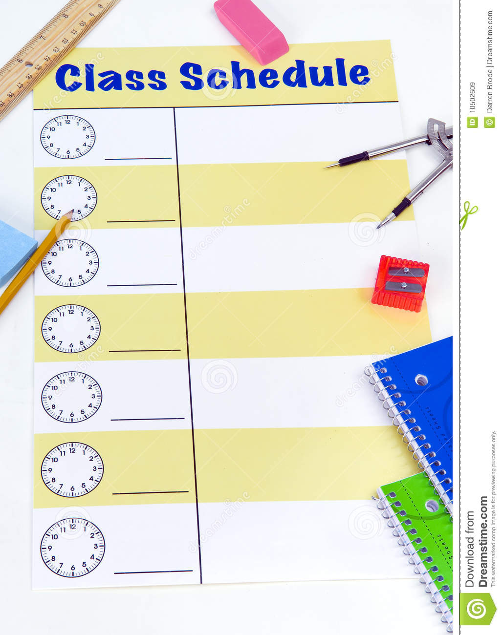 Class Schedule Blank Royalty Free Stock Images - Image: 10502609