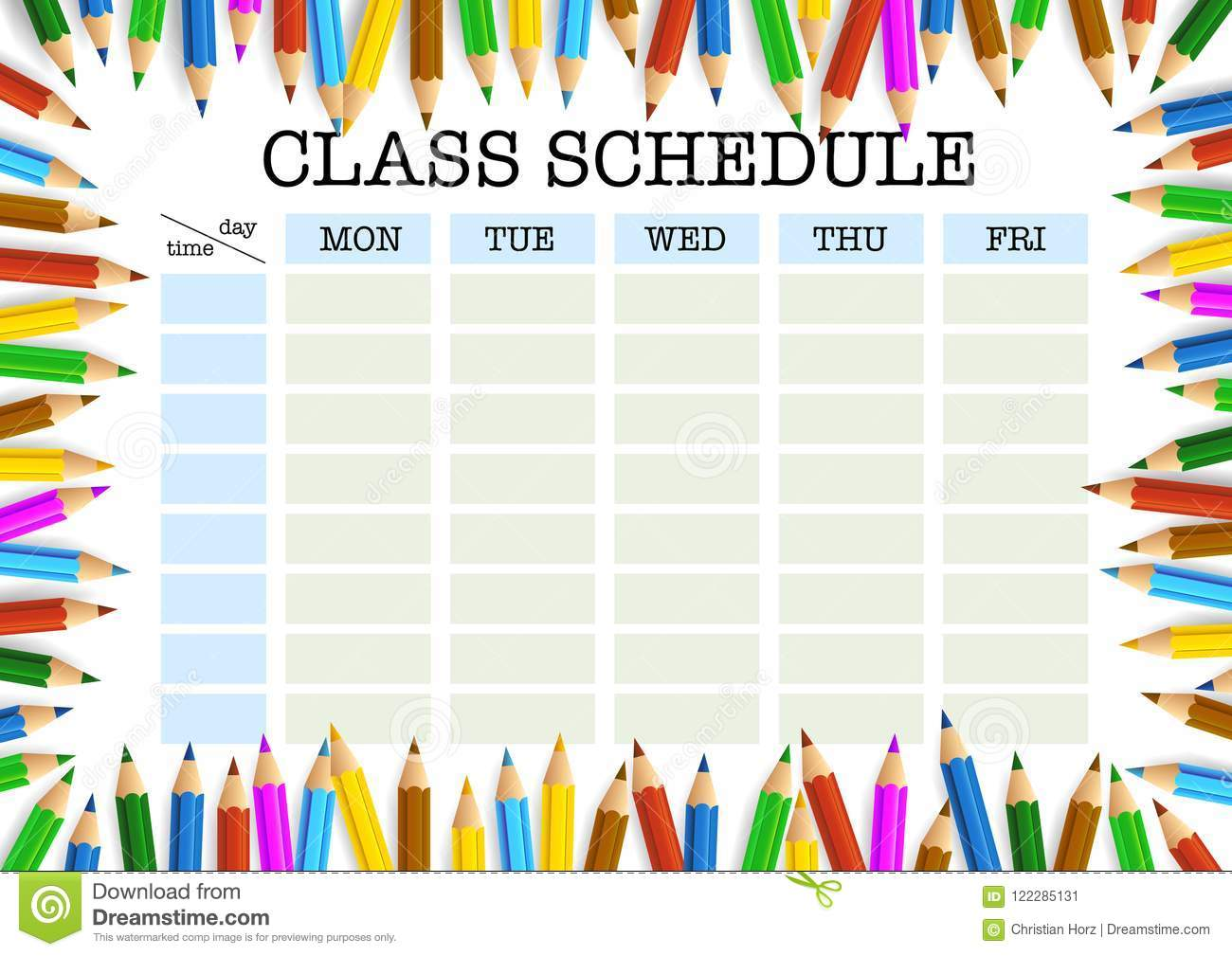 Class Schedule Surrounded By Colored Pencils Template Stock Vector
