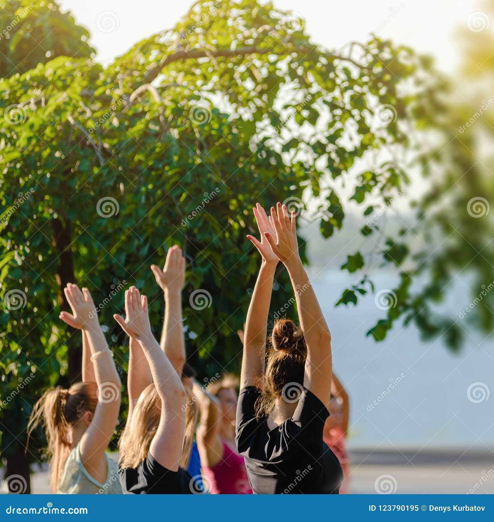 Classe da ioga no parque