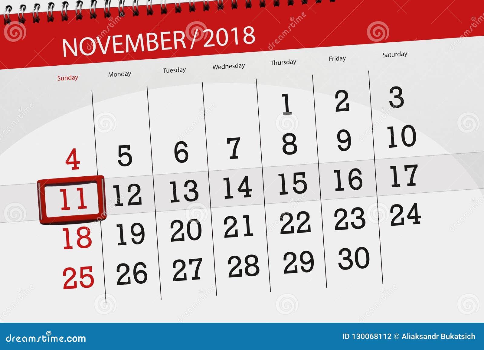 Classez le planificateur pour le mois, jour de date-butoir de la semaine 2018 novembre, 11, dimanche