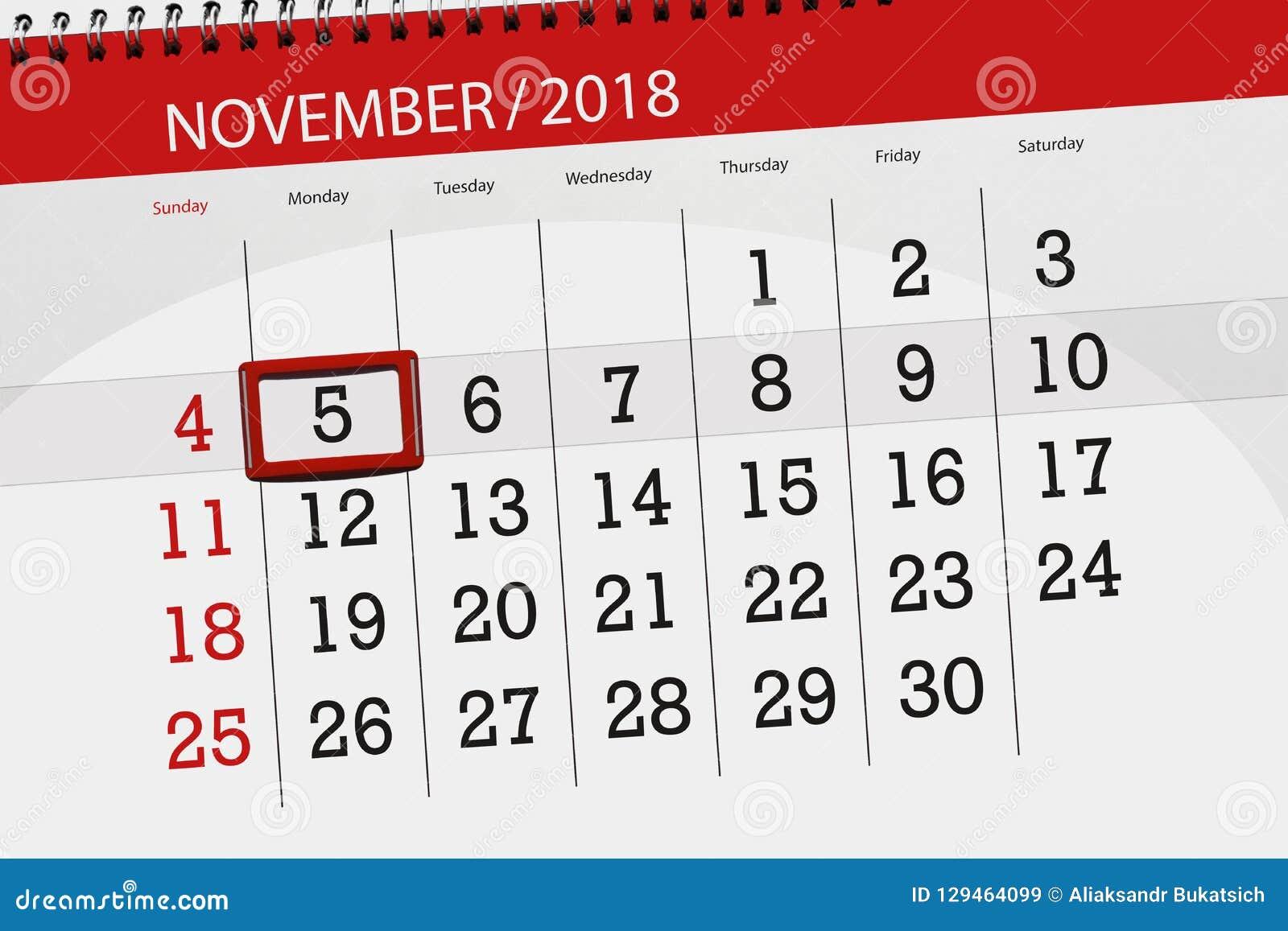 Classez le planificateur pour le mois, jour de date-butoir de la semaine 2018 novembre, 5, lundi