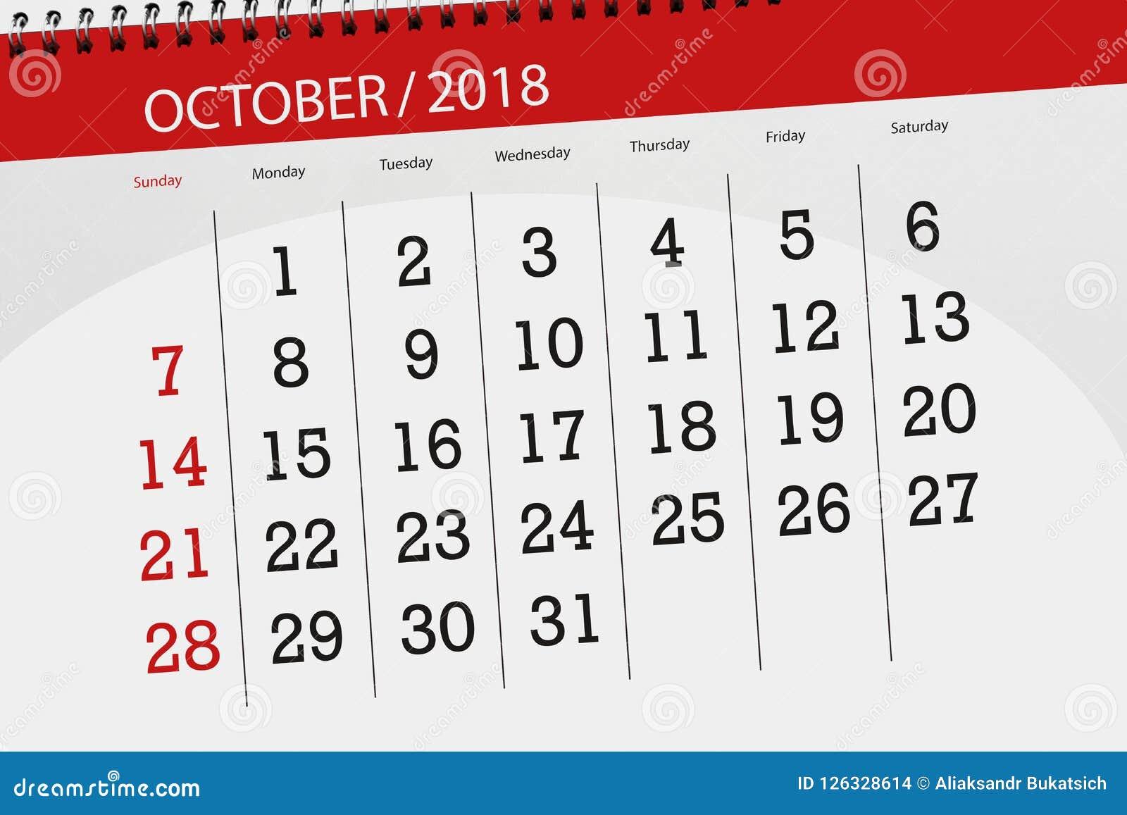 Classez le planificateur pour le mois, jour de date-butoir de la semaine 2018 octobre