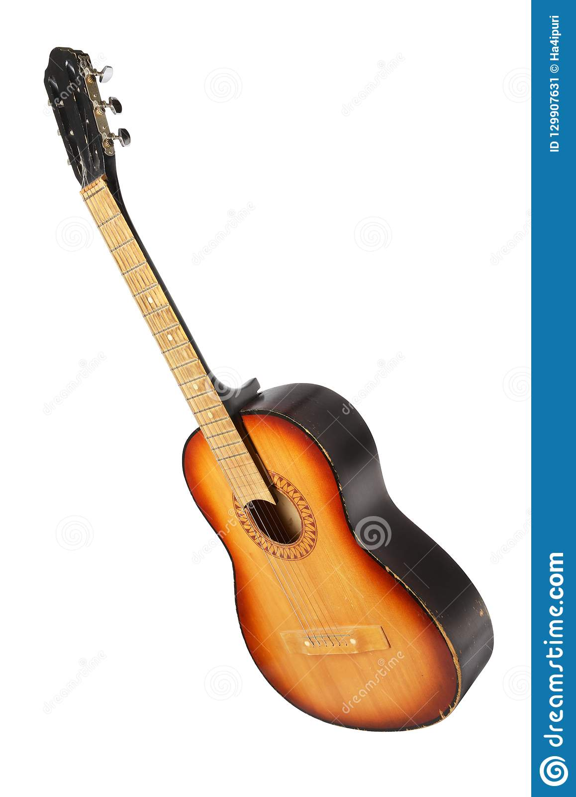 Classic Acoustic Guitar On White Stock Image Image Of Clipping