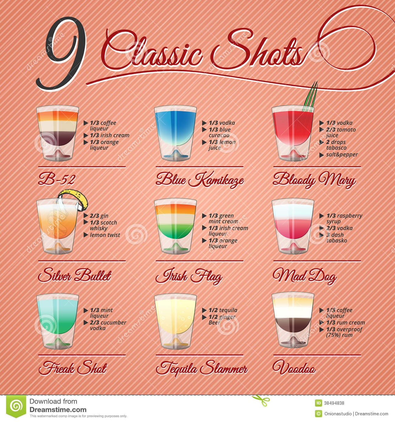 Classic alcohol shots set royalty free stock photos for Good mixed drink ideas