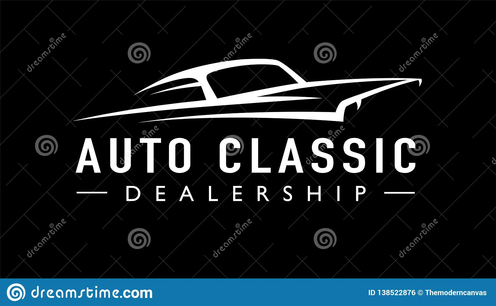 Classic American auto concept style sports muscle car logo silhouette