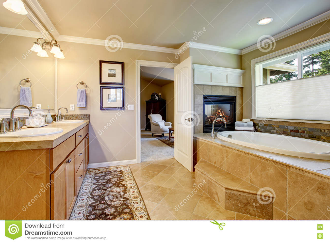 Classic American Bathroom With Wooden Cabinets, Two White Sinks ...