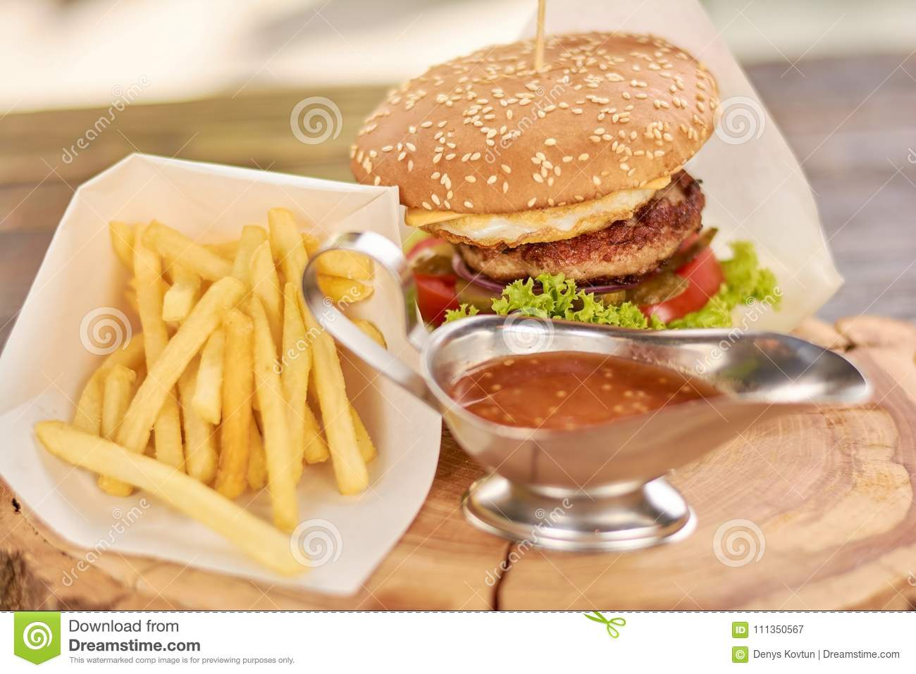 Classic American Burger Fast Food Stock Image Image Of Bakery
