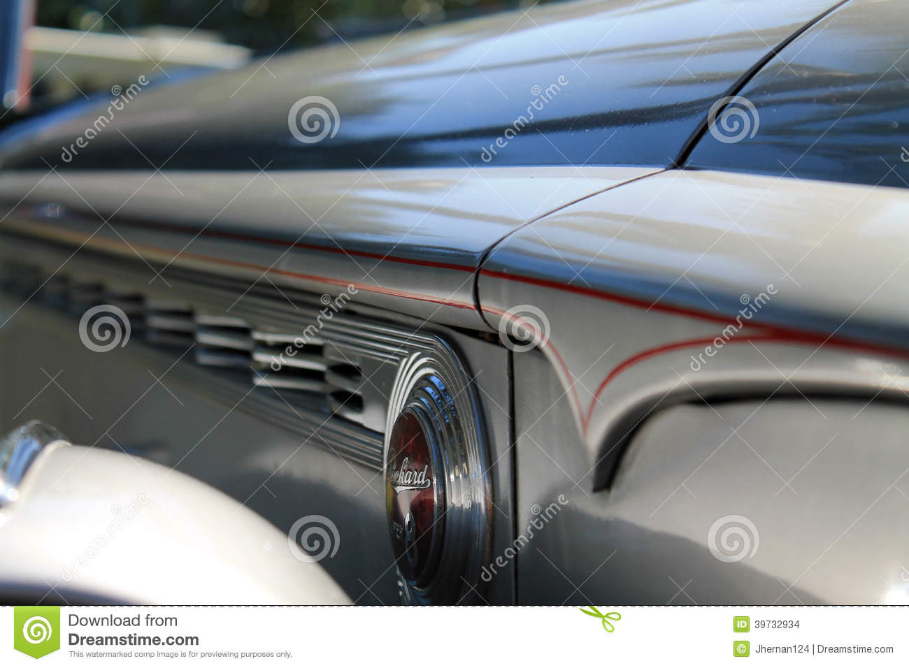 Classic American Car Side Hood Detail 4 Editorial Stock