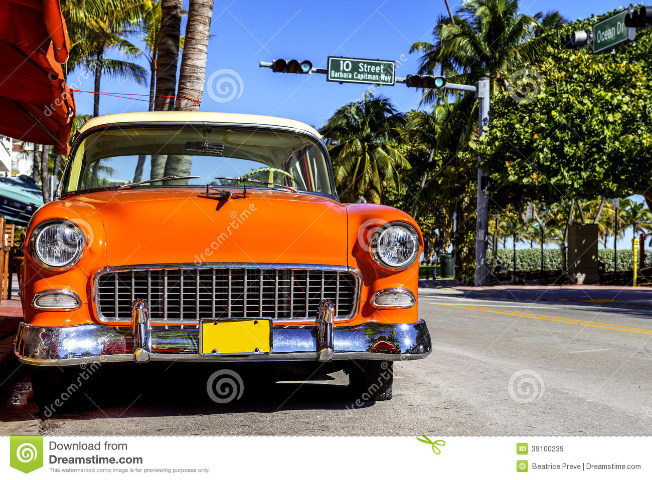 Classic American Car On South Beach Miami Stock Photo Image