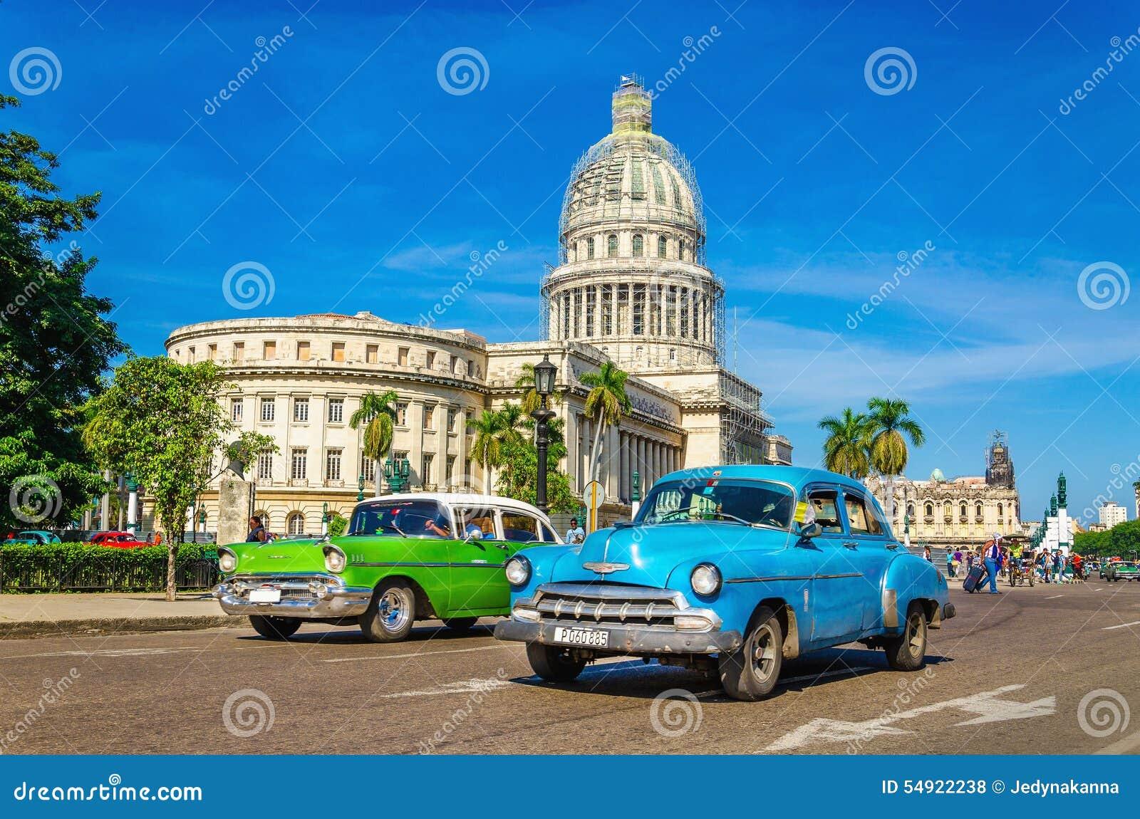 Classic American Cars And Capitol In Havana, Cuba Editorial Stock ...