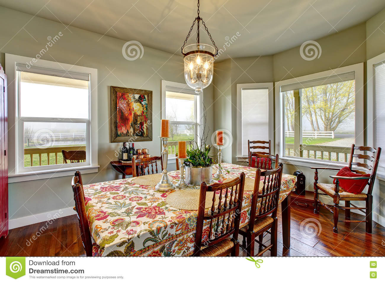 Classic American Dining Area Connected To Kitchen Stock Image