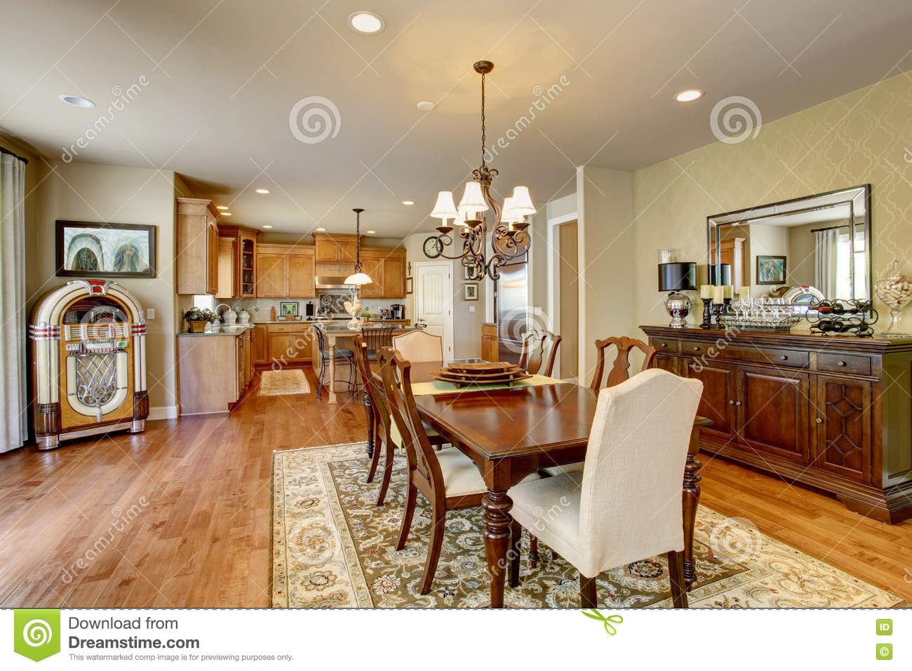 Classic American Dining Room With Wooden Table Set