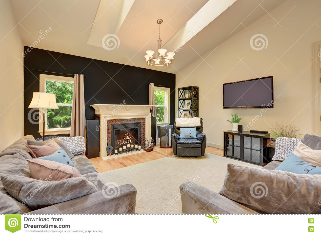 classic american family room with fireplace and sofas stock photo image of chair floor 75674014. Black Bedroom Furniture Sets. Home Design Ideas