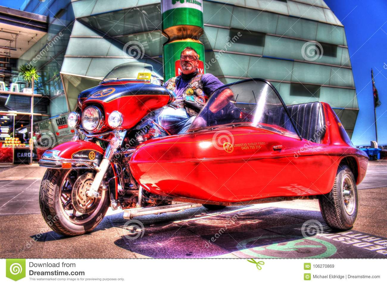 Classic American Harley Davidson Motorcycle And Sidecar With