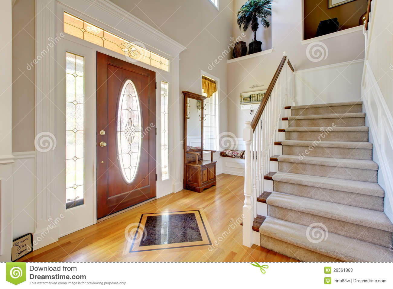 Download Classic AMerican Home Entrance Interior With Staircase Stock Image