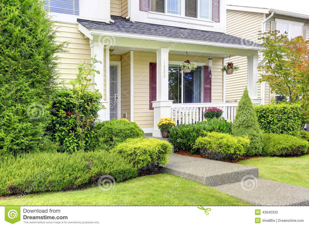 Classic American House Exterior Entrance Porch Stock