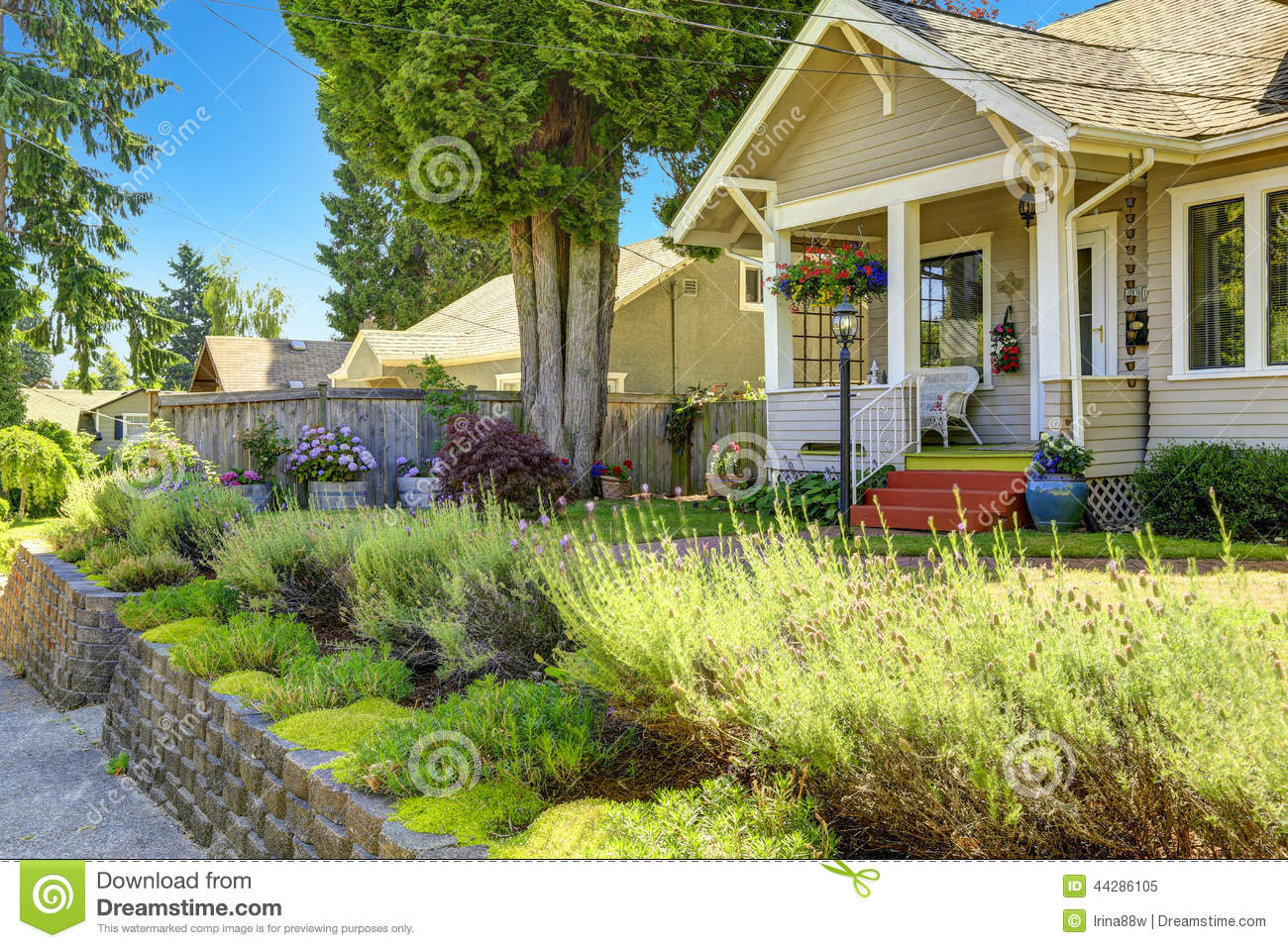 Classic american house exterior with landscape stock photo for Classic american house