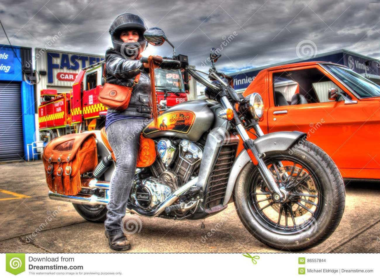 Classic american indian motorcycle and woman editorial for American classic customs