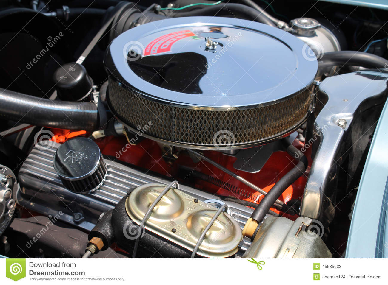 Classic American Muscle Car Engine Editorial Stock Photo - Image of ...