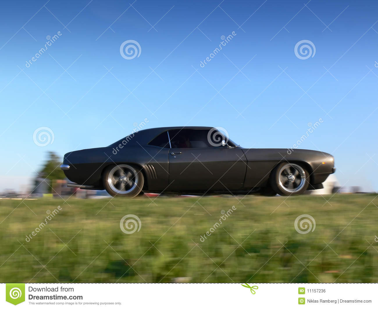Classic American Muscle Car On The Move Stock Photo - Image of black ...
