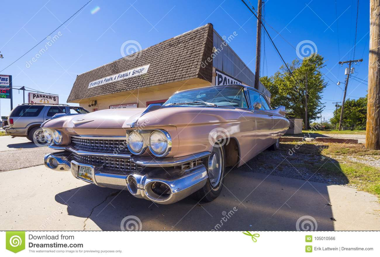 Classic American Oldtimer Car Like Pink Cadillac At Route 66