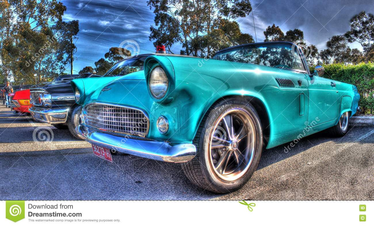 Classic American 1950s Ford Thunderbird Editorial Photography Image Of Travel Painted 79960517