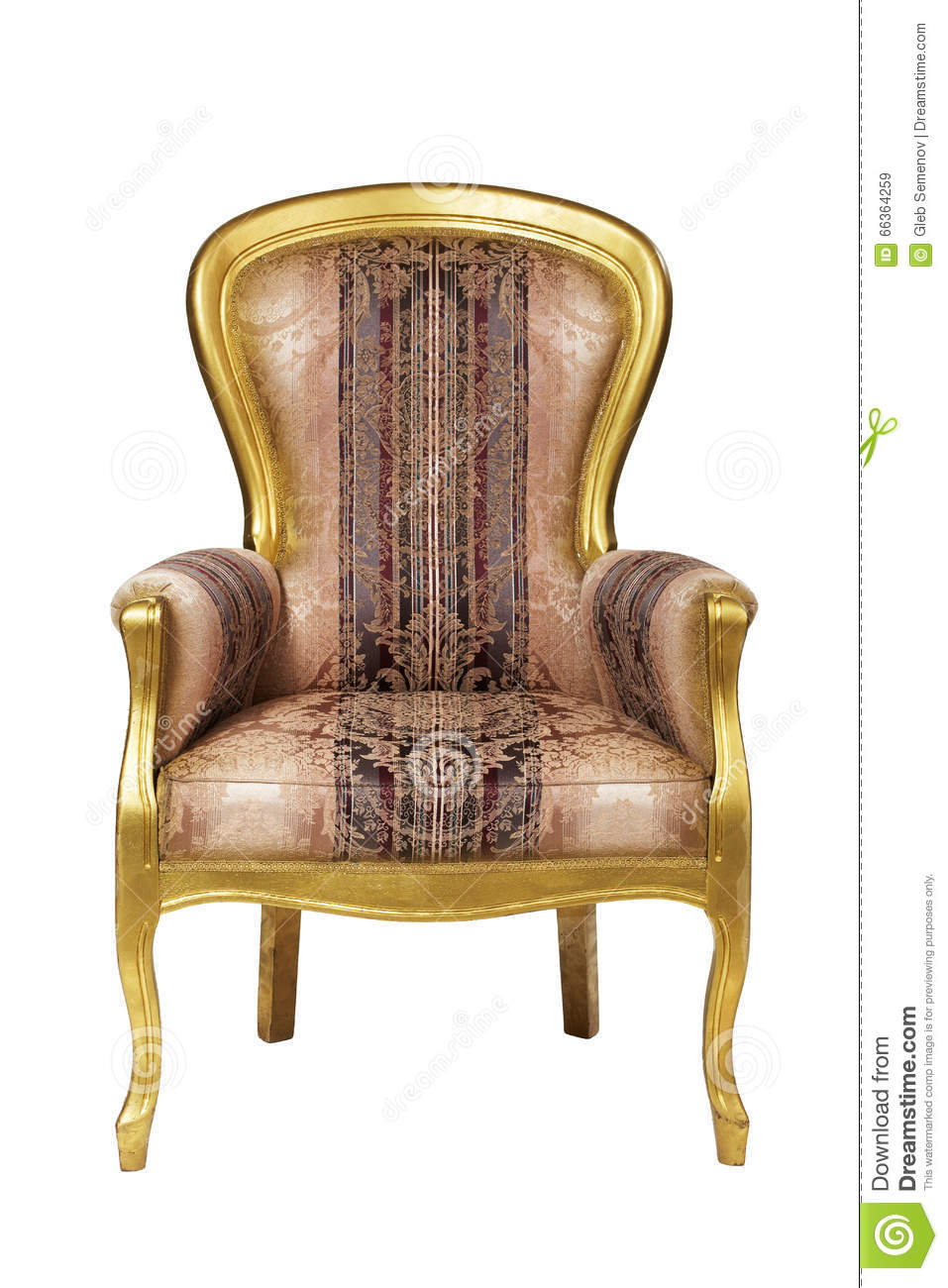 Classic Ancient Armchair With Golden Wood Isolated Stock Image
