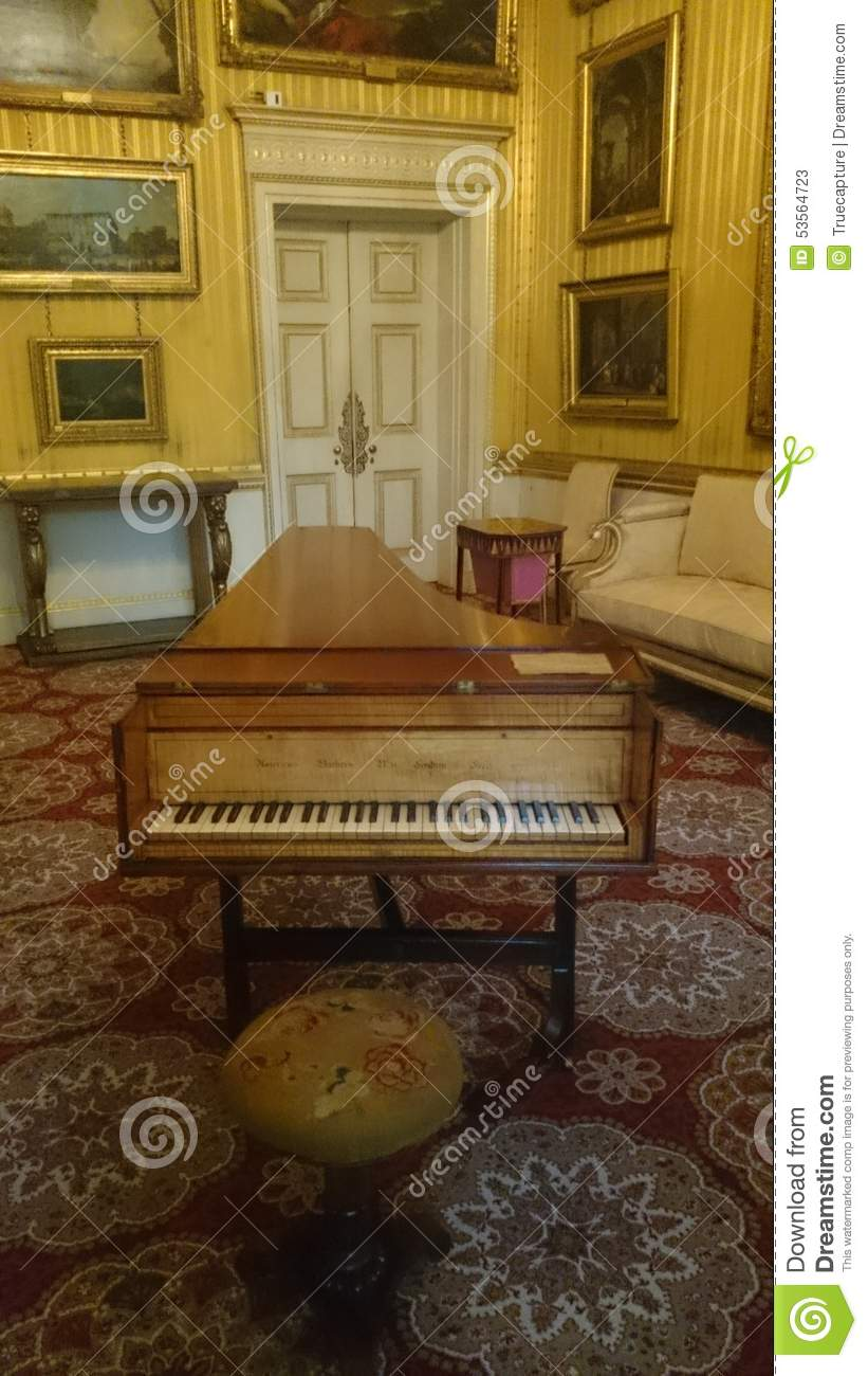 Classic antique piano and luxurious decor stock photo for Classic house piano