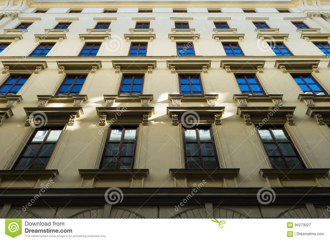 Classic Apartment Building Front Facade In Old Town Vienna ...