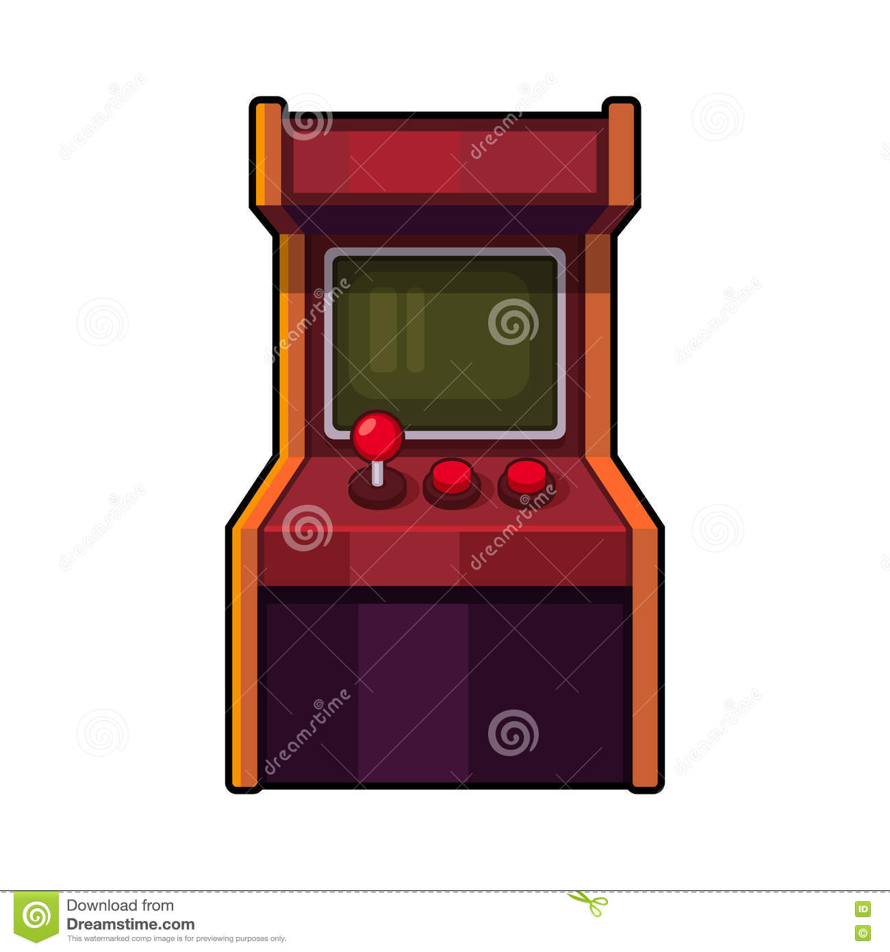 Classic Arcade Machine. Old Style Gaming Cabinet. Vector Stock ...