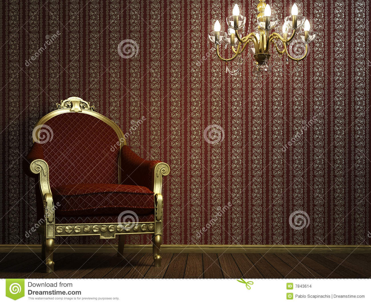 Classic armchair with lamp and golden details