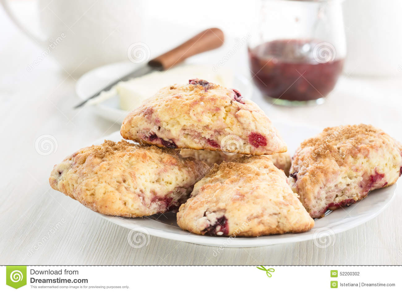 Classic bakery cream scones with cherry stock photo for Classic bake house
